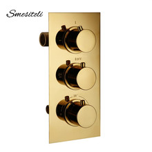 Smesiteli Gold Brass 3 Dial 3 Way Thermostatic Control Mixing Valve Faucet Bath Bathtub Shower Diverter Valve Hot & Cold Taps smesiteli wholesale and promotions all brass chrome mixing valve thermostatic shower system water temperature control g1 2