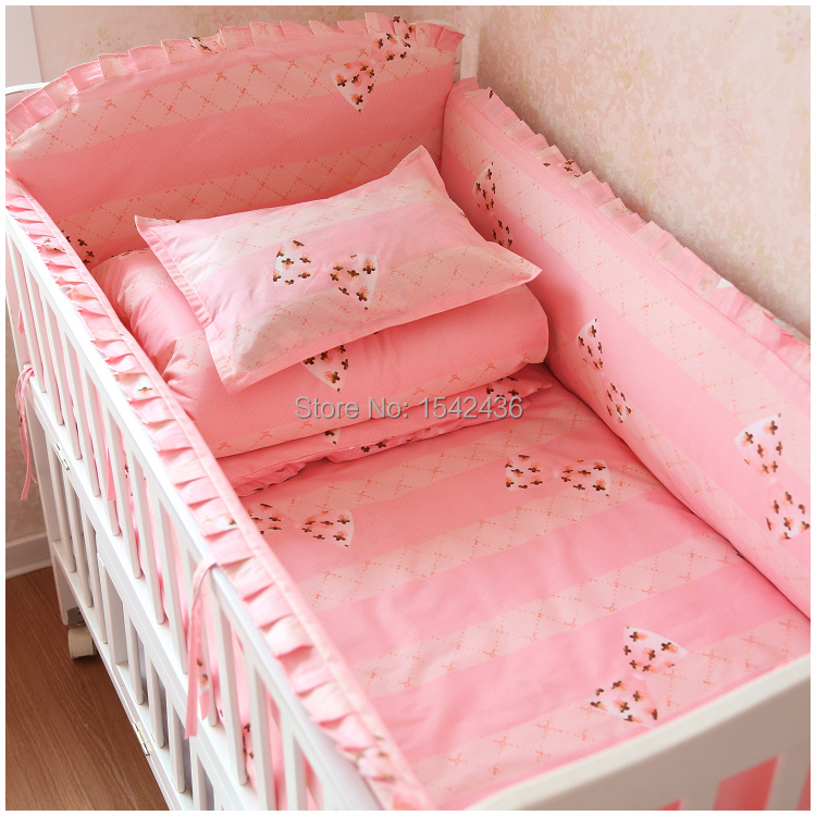 Hot 5 Pcs/sets Baby Bedding Set 100% Cotton Crib Bedding 4 Size Baby Cot  Bedding Set