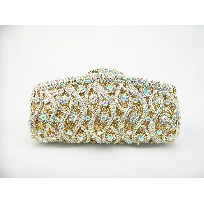128 WhiteAB Crystal Lady fashion Wedding Bridal Party Night hollow Metal Evening purse handbag clutch bag case box - stephen cheung's store