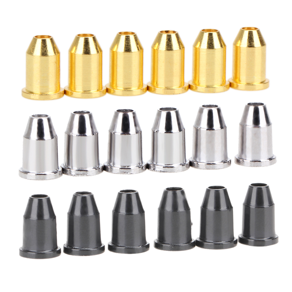 6pcs Guitar String Caps Mounting Buckle Through Body Ferrules Bushing Black Silver Gold 3 Colors Guitar Parts & Accessories kaish 6x guitar string through body ferrule 1 4 string ferrules for telecaster various colors