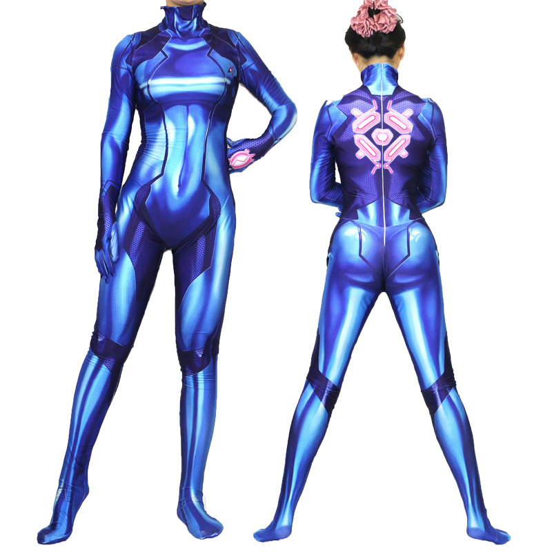 2019 Samus Aran Zero Metroid Halloween Cosplay Costumes zentai Suit 3D Tights
