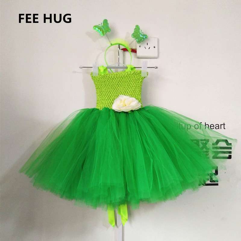 2018 Cosplay Fairy TUTU Dress Sets For Girls Princess Girl Birthday Party Dress Green Kids Halloween Costume With Wing children girl tutu dress super hero girl halloween costume kids summer tutu dress party photography girl clothing