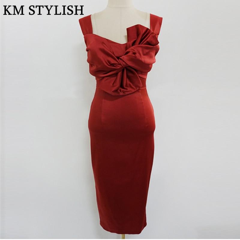 2018 New Korean Lady Elegant Tube Top Bow Red Knee Length Satin Dress Slim  Strap Halter Bag Hip Party Formal Dress Female-in Dresses from Women s  Clothing ... 78445d0b3002