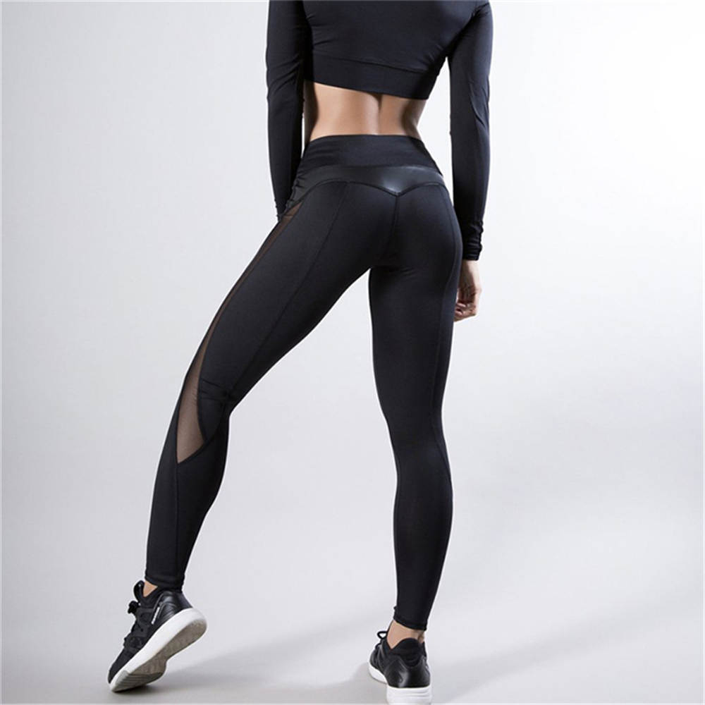 Black Fitness Legging Women Heart Workout Legginngs Femmle Mesh And PU Leather Patchwork Leggings Solid Pants 5