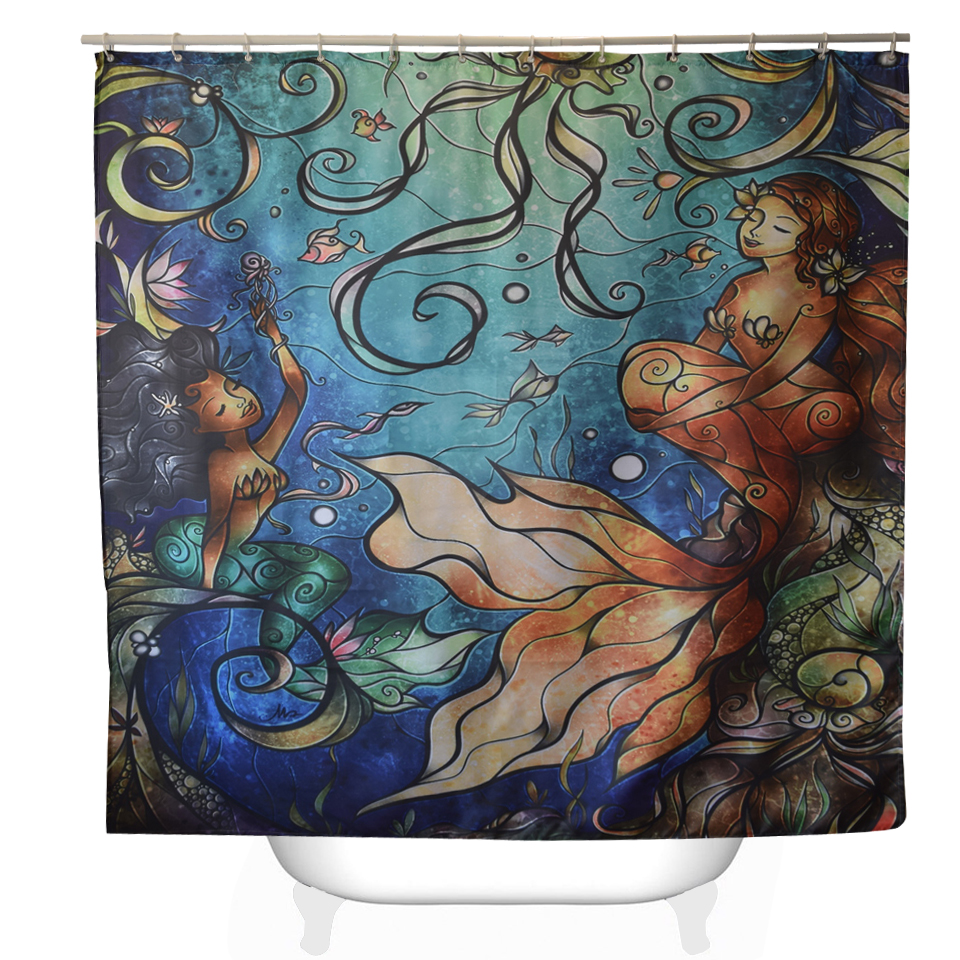 Mermaid shower curtains - Svetanya Mermaid Printed Shower Curtains Bath Products Bathroom Decor With Hooks Waterproof 71x71 China