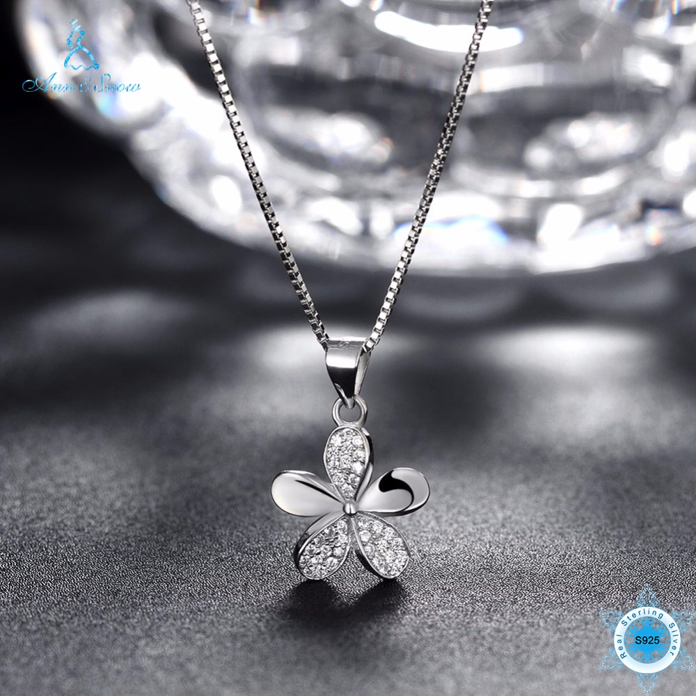Ann & Snow 925 Sterling Silver Sweet Style Necklace Flower Women Micro Pave CZ Necklaces & Pendants Jewelry Gifts SVN064Ann & Snow 925 Sterling Silver Sweet Style Necklace Flower Women Micro Pave CZ Necklaces & Pendants Jewelry Gifts SVN064