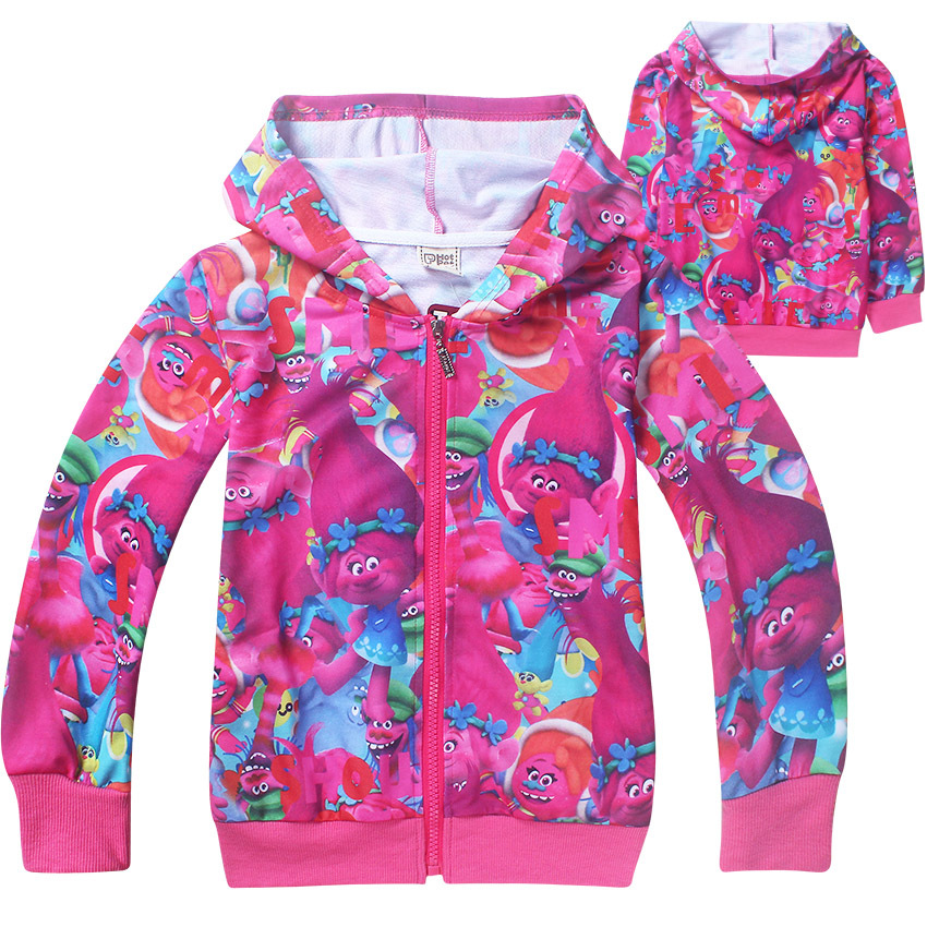 2018 New Spring Autumn Chidren girls clothing zipped Hoodies jacket Sweatshirts Trolls Long sleeves coat baby girls outwear