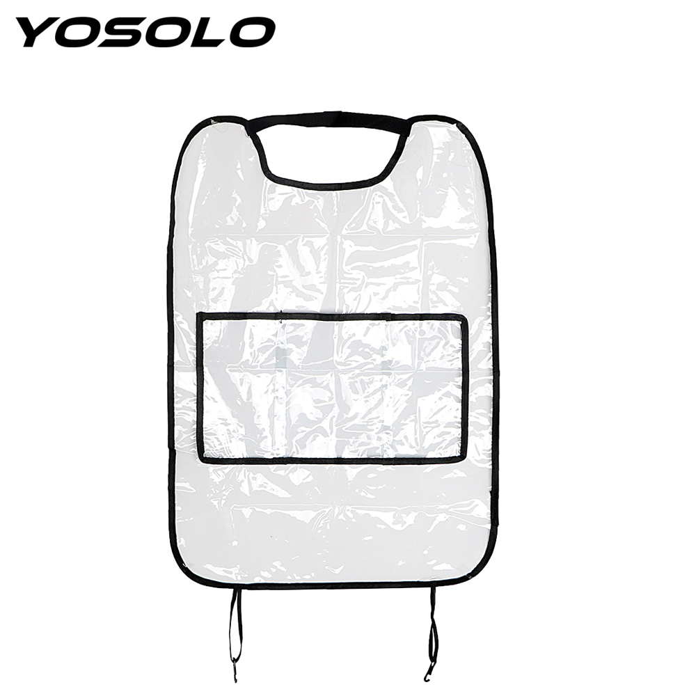 YOSOLO Seat Back Protector With Bag Waterproof For Children Kick Mud Mats Car Seat Covers Car Storage Bags