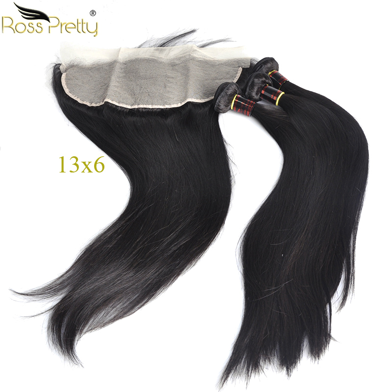 Ross Pretty Remy Hair Bundles With Frontal Transparent 13x6 Pre Pluck Brazilian Straight Hair Weave With Lace Frontal Human Hair