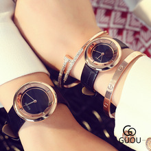 Vogue Model GUOU Girls Gown Quartz Watch Girls Leather-based Informal Leisure Elegant Feminine Girls's Watch Gold Crystal reloje mujer