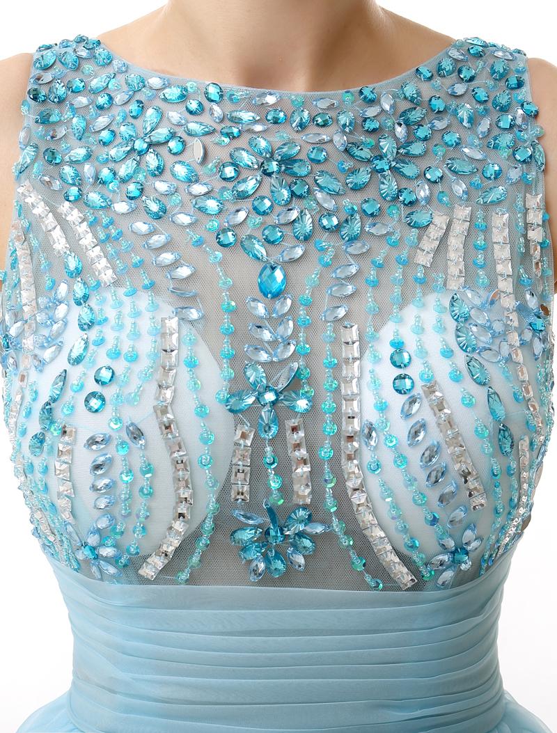 light bluerhinestone short dress
