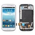 Display lcd para samsung galaxy s3 neo i9300i gt-i9300i toque digitador da tela + assembleia quadro moldura, 4.8 ''polegadas Branco Azul