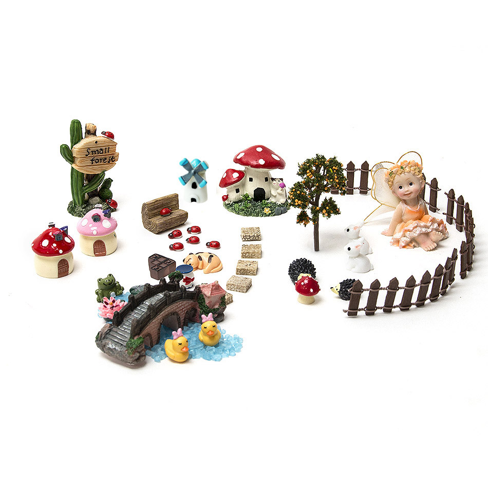 37pcs set miniature fairy garden accessories resin crafts - Garden decor accessories ...