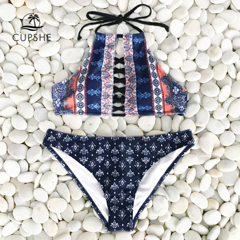 CUPSHE Sexy Halter Bikini Sets Women Lace Up Backless Thong Two Pieces Swimwear 2020 Girl New Beach Bathing Suits Swimsuits 3