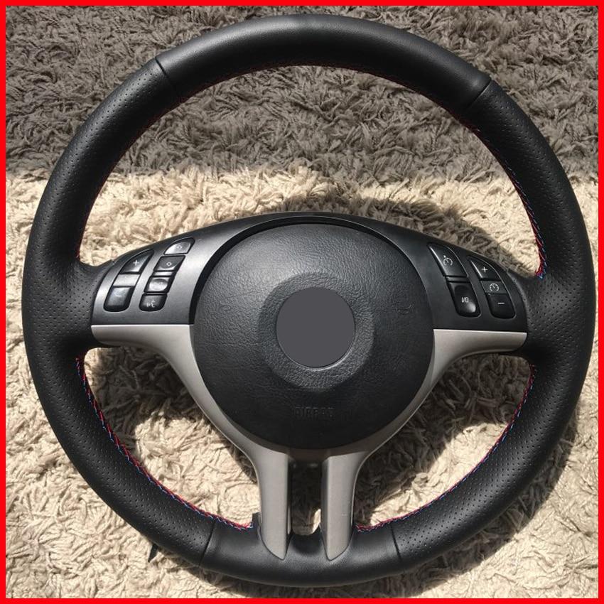 MEWANT Black Artificial Leather Car Steering Wheel Cover For BMW E53 X5 E39 E46 325i Accessories