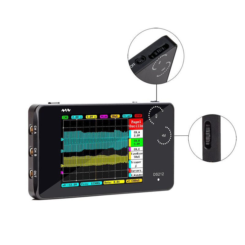 Mini ARM DSO212 DS212 Portable Digital Storage Oscilloscope Two Channels sample rate 10msa/s