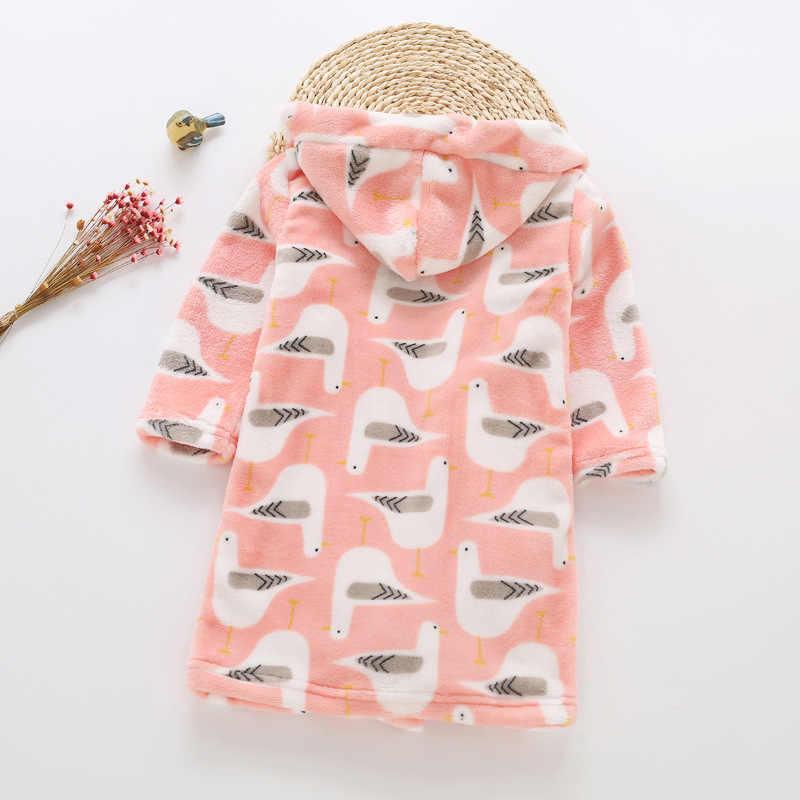 ... Детский халат для девочки одежда осень детская зимняя мальчиков фланель  ночная рубашка Хлопок халаты для c593a98ffa857