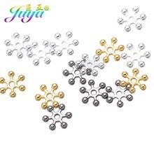 Perles d'espacement en métal, flocons de neige, or, 8mm, 10mm, accessoires pour femmes, fabrication de bijoux, bricolage