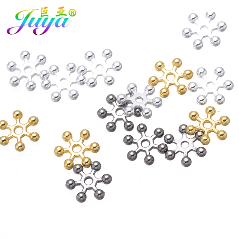 Silver Snowflake Daisy Spacer Bead DIY Jewelry Making 100 PCS  6//8//10 MM Gold