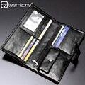 Teemzoen - negocio del cuero genuino tipo bolso de embrague del día larga cartera monedero con cierre cerrojo de la moneda de coincidencia de colores bolsillo J30