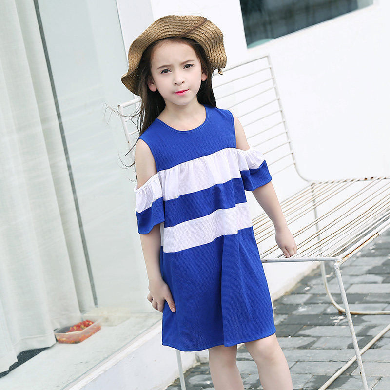 Girls Fashion Dress Off Shoudler Chiffon Clothes Teens Royal Blue White Clothing Children for Age 56789 10 11 12 13 14Years Old