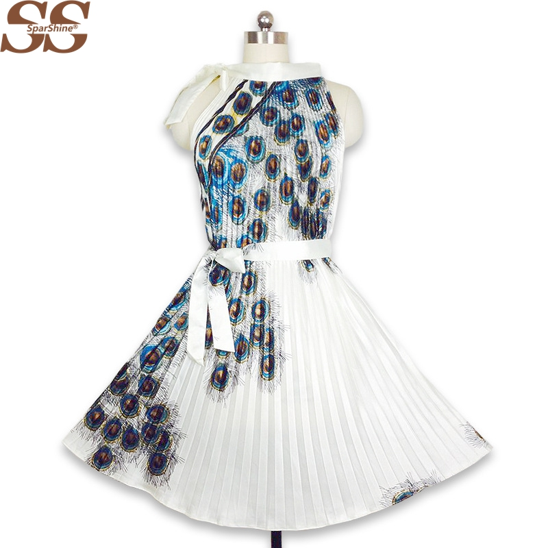 2218c73e24 2018 Summer Dress Peacock Feather Print Women A-Line Pleated Dresses Rayon  Sleeveless Sexy Party Dress Plus Size S-4XL