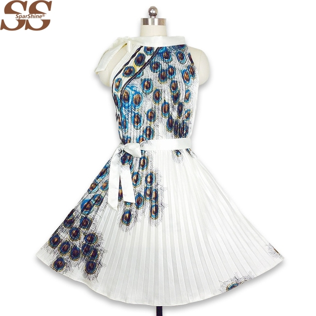 a1206e37292 2019 Summer Dress Peacock Feather Print Women A-Line Pleated Dresses Rayon  Sleeveless Sexy Party