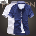 New Fashion Contrast Color Collar Men Shirt Short Sleeve Slim Fit Shirt Men High Quality Men Designer Shirts Clothes