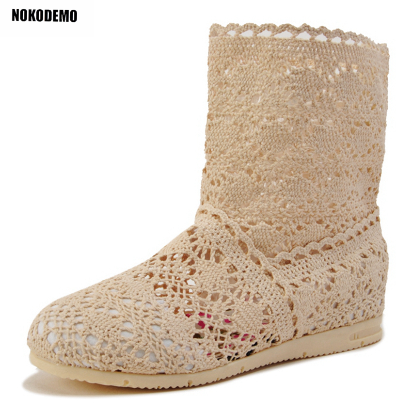 Women Cut Out Flat Knitted Crochet Boots Short Ankle Boots Shoes Woman Flats Booties for Summer ...