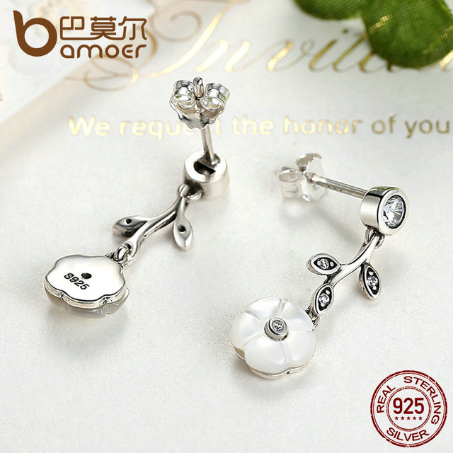 Sterling Silver White Flower Pendant Earrings