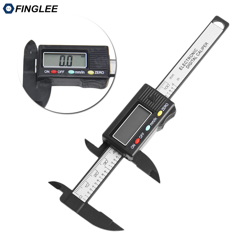 6inch 150mm Vernier Digital Electronic Caliper Ruler Measuring Tools Carbon Fiber Composite Vernier Calipers with Cell Battery