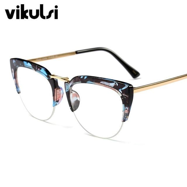 ad29012b4a4 Clear Lens Glasses Half Frame Rimless Cat Eye Sunglasses Brand Designer  Vintage Elegant Cool Sun glasses For Lady Female Shades