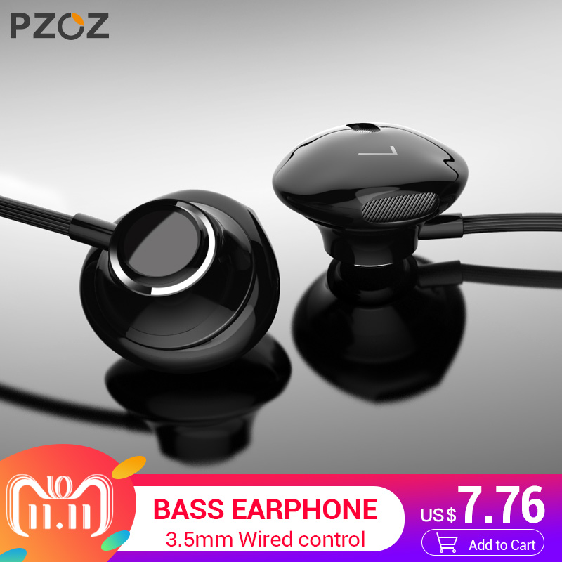 цена на PZOZ Bass Earphone 3.5mm Wired control Headset With Mic In-Ear sport earbud earphones mini For iphone xiaomi Samsung Huawei MP3