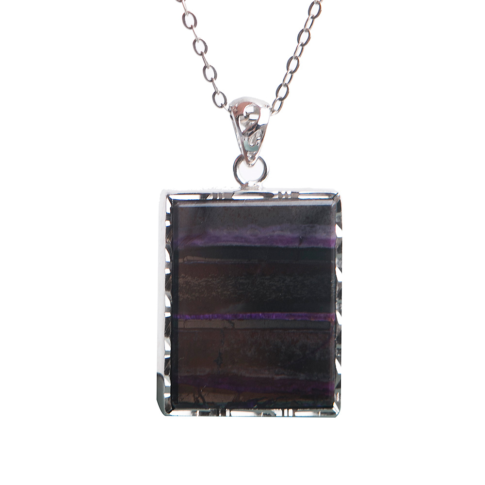 Genuine Natural Rectangle Pendant Sugilite Stone Beads Gem Crystal Silver Plated Pendants Necklace For Women цены онлайн