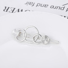 Fashion silver  Hollow Metal Hairpin Geometry 3- ring Hair Clip Women Girls Hair Pin Jewelry Hair Accessories