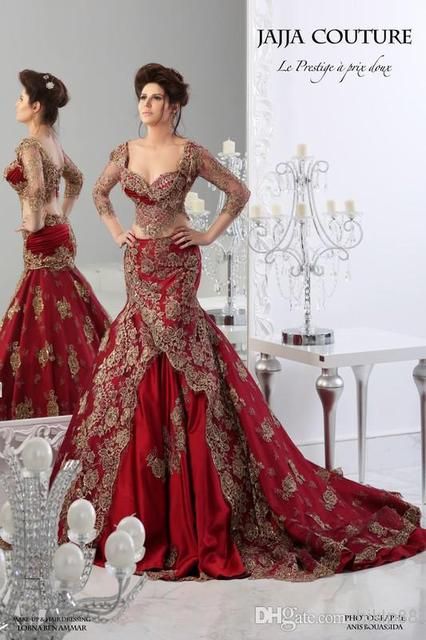 Red Formal Evening Dresses 2015 Arabic Embroidery V Neck Ball Gowns ...