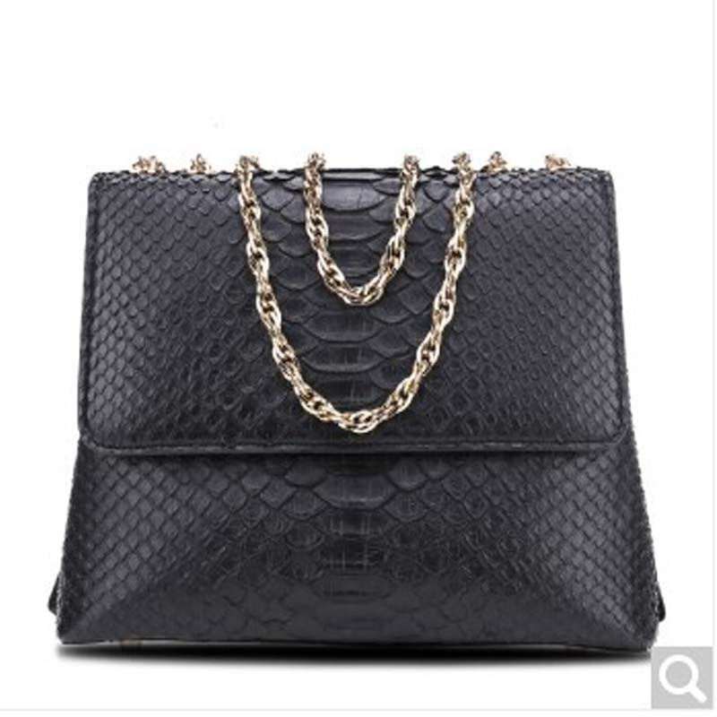 Beijue Boa Leather single shoulder women handbag chain bag single shoulder bag black python Skin beijue boa leather single shoulder women handbag chain bag single shoulder bag black python skin