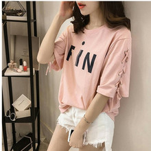 T-shirt Women Plus size 5XL Summer Short-sleeved Fashion Printing Casual tops Tees Tie-up Loose Basic T shirt C296
