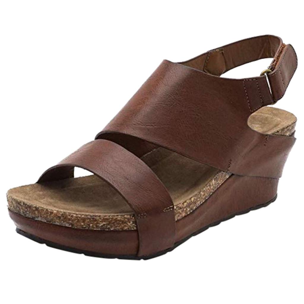 Sandals Shoes Wedges Platformed Open-Toe Adjustable Comfortable Ankle-Roman Femme Women