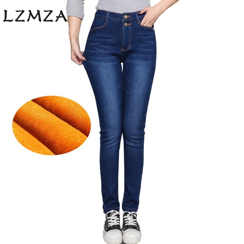 LZMZA New 2017 Winter Woman Denim Pants High Waist  Warm Velvet Jeans women Plus Size 5XL Black Blue stretch jean femme