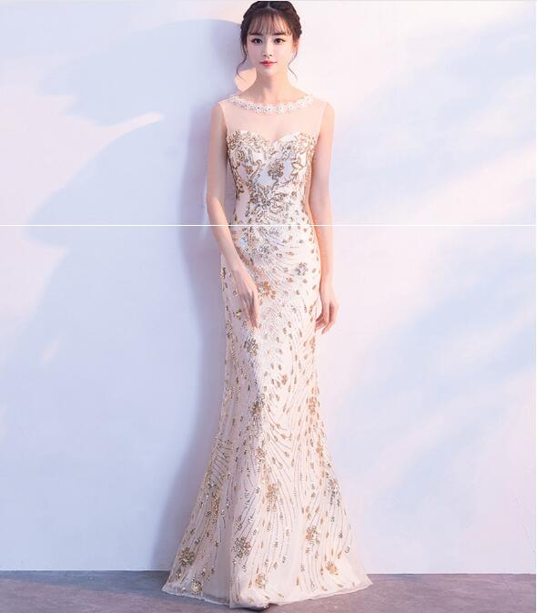 Champagne Mermaid Sequined   Bridesmaid     Dress   Formal Illusion Prom   Dresses   Appliqued Tulle Long Party   Dress   vestido de festa Q022