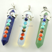 10pcs Mixed Color Natural Green Aventurine White Opal Blue Lapis Hexagon Pendant With Cake Beads Inlay