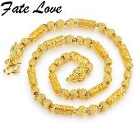 Fate Love Vintage Gothic Men Link Chain Necklace Copper Gold Color 7mm Wide Necklace Dragon Design