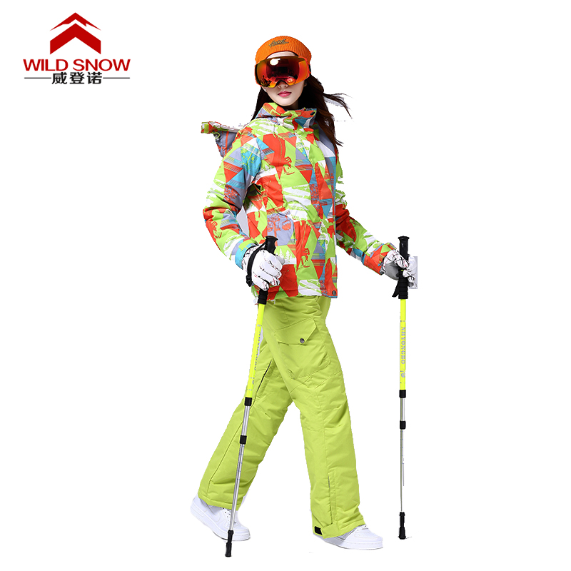 цены Brand Ski Suit Women Winter Warm Waterproof Skiing Suit Sets Snow Jackets Pants Snowboard Ski Clothing Set Sportswear HXT08
