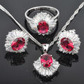 High Quality Red Cubic Zircon Silver Jewelry Sets For Women Earrings/Pendant/Necklace/Rings  Free Shipping  JS094