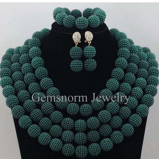 Encantos Verde Del Ejército Nigeriano Boda Perlas Africanas Joyería Conjunto Bolas Grandes Chunky Joyería de Traje Envío Gratis WB847