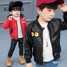 Spring Autumn Baby Girl Short Jacket Kids Black Red Big Eye PU Leather Jacket for Boys Stand Collar Windproof Outerwear Coats