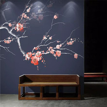 цены Custom wallpaper red plum hand-painted flowers and birds background wall Chinese style plum mural high-grade waterproof material