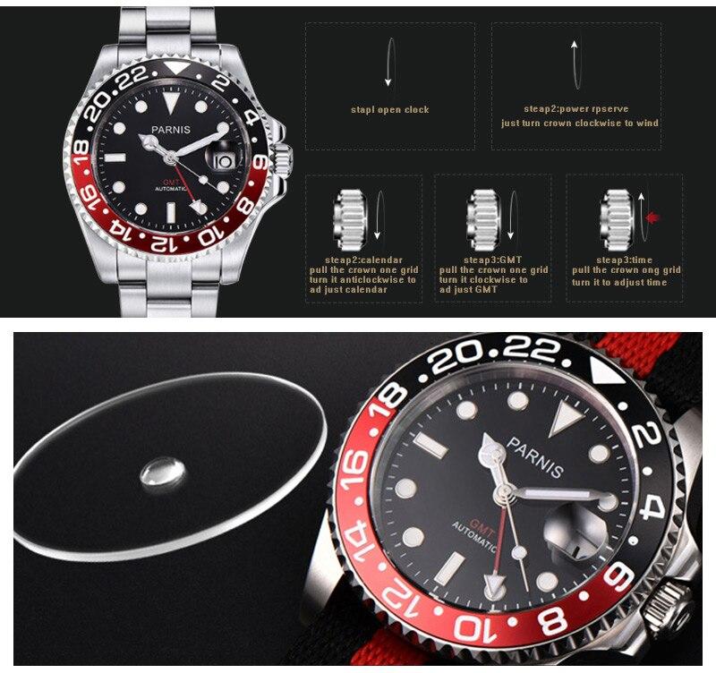 relógios masculinos gmt safira cristal homem mergulhador