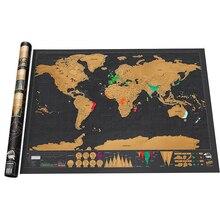 Скретч Карта мира путешествия плакат медная фольга стикер стены персонализированные журнал небольшой размер с цилиндрической упаковкой